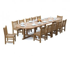 Hilgrove 12 Seater 4m Teak Oval Dining Set with Dining Chairs - 10+ Seater