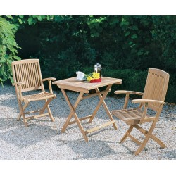 Rimini Patio Garden Folding Table and Arm Chairs Set - Outdoor 2 Seater Folding Dining Set