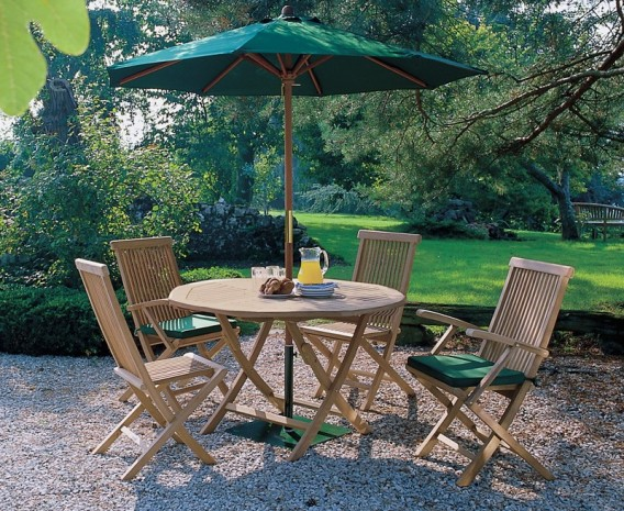 Suffolk Folding Round Garden Table and Chairs Set
