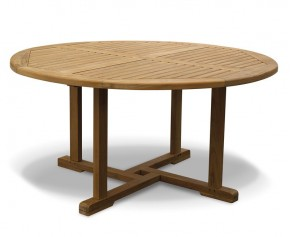 Canfield Teak Circular Garden Table-150cm - 4 Seater Dining Tables