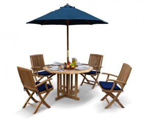 Berrington Garden Octagonal Gateleg Table and Arm Chairs Set - Octagonal Table