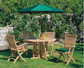 Berrington Garden Gateleg Table and Arm Chairs Set - Patio Outdoor Teak Dining Set - Brompton Dining Set