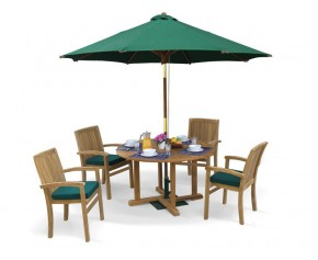 Bali Patio Garden Table and Stackable Chairs Set - Outdoor Teak Dining Set - Stacking Chairs