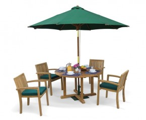 Canfield Teak Patio Table and Stacking Chairs - Outdoor Garden Dining Set - Stacking Chairs