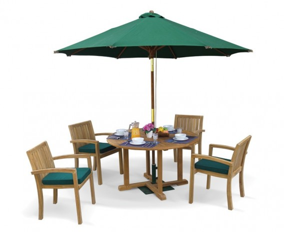 Canfield Teak Patio Table and Stacking Chairs - Outdoor Garden Dining Set
