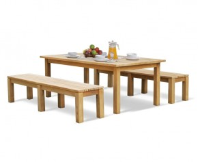 Chichester Teak Garden Table and Benches Set - 2m - Dining Sets with Benches