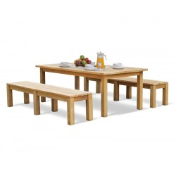 Chichester Teak Garden Table and Benches Set - 2m