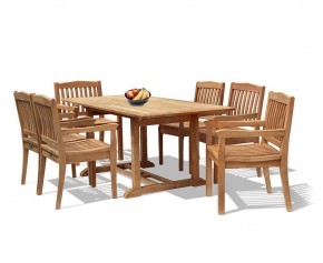 Hilgrove 6 Seater Garden Rectangular Dining Table and Chairs Set 2 - Rectangular Table