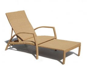 Monaco Outdoor Rattan Sun Lounger - Padded Sun Loungers
