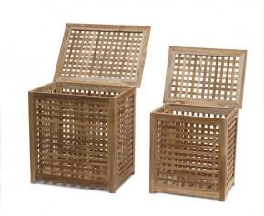 Tango Teak Garden Storage Boxes M & L