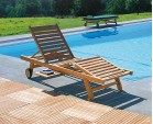 Luxury Teak Reclining Sun Lounger with Cushion