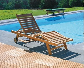 Luxury Teak Reclining Sun Lounger with FREE Cushion - Teak Sun Loungers