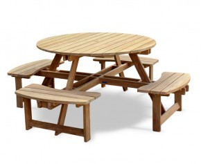 Teak Round Picnic Bench - Dining Sets with Benches