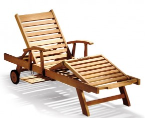 Luxury Teak Reclining Lounger with Arms & FREE Cushion - Teak Sun Loungers