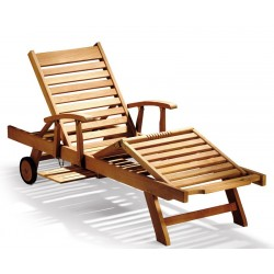Luxury Teak Reclining Lounger with Arms & FREE Cushion