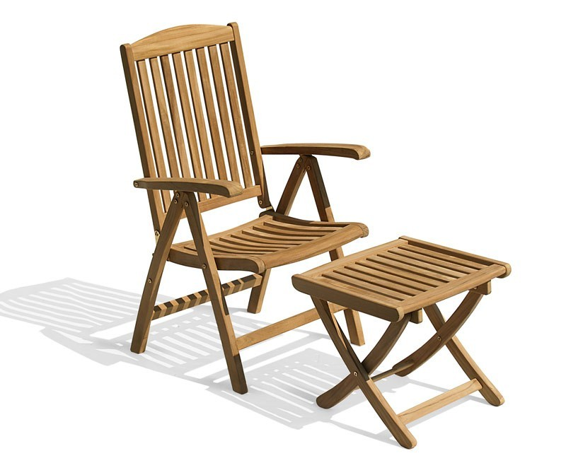 Cheltenham Teak Garden Recliner Arm Chair & Footstool