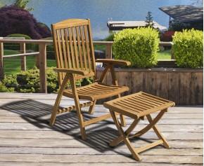 Cheltenham Teak Garden Recliner Armchair & Separate Footstool - Garden Sun loungers