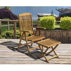 Cheltenham Teak Garden Recliner Armchair & Separate Footstool