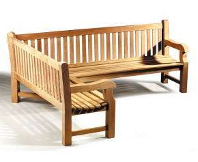 Balmoral Teak Wooden Corner Garden Bench (Left Orientation) - 8ft Garden Benches
