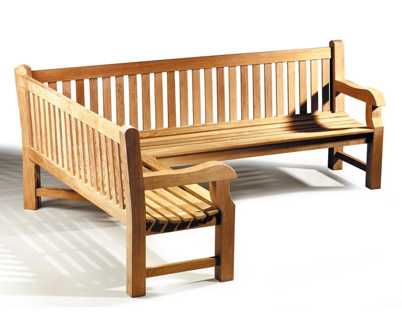 Balmoral Teak Wooden Corner Garden Bench Left Orientation
