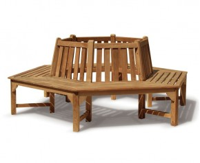 Teak Hexagonal Tree Bench - 4+ Seater Garden Benches