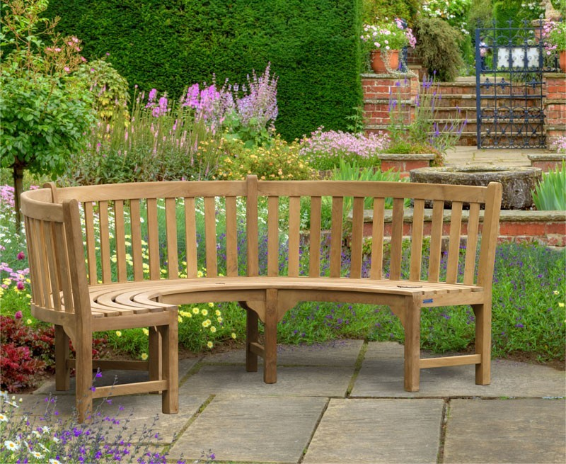 Henley Teak Curved Garden Bench Semi Circle Bench