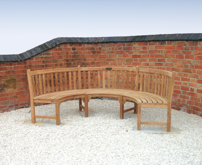 Henley Teak Curved Garden Bench Semi Circle Bench