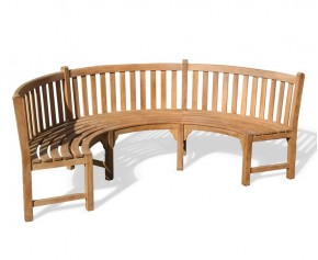 Henley Teak Curved Garden Bench - 7ft Benches