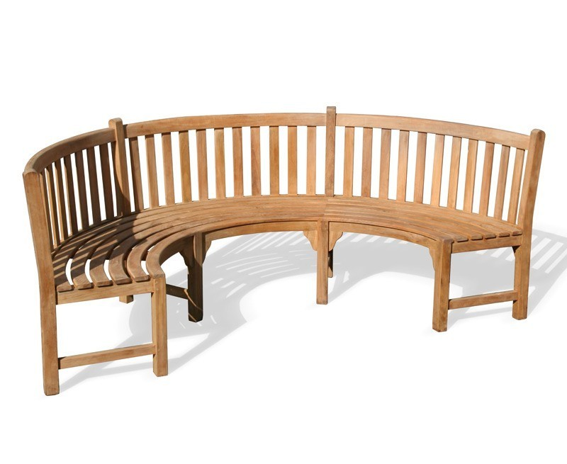 Henley Teak Curved Garden Bench Semi Circle Bench: curved bench seating