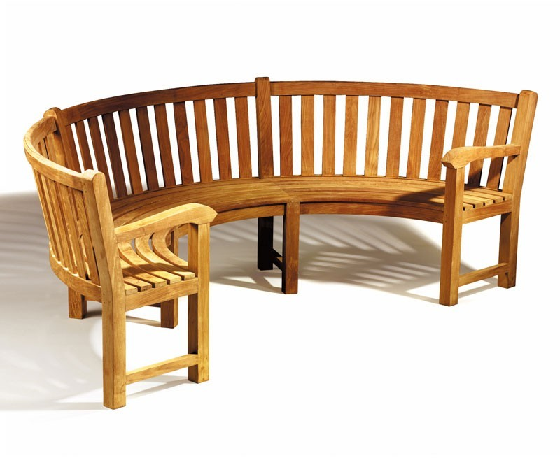Garden Benches > Henley Teak Curved Wooden Bench With Arms