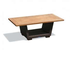 Sorrento Rattan and Teak Side Table - Rectangular Tables