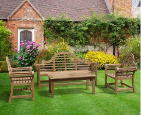 Teak Lutyens Garden Bench, Table and Chair Set with Hilgrove 1.95m Coffee Table - Dining Sets with Benches