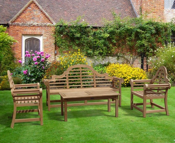 Teak Lutyens Garden Bench, Table And Chair Set With Hilgrove Coffee Table  Set 2
