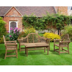 Teak Lutyens Garden Bench, Table and Chair Set with Hilgrove Coffee Table Set 2 - 1.95m