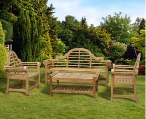 Teak Lutyens Table with Bench and Chairs - 1.95m - Large Garden Benches