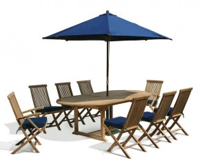 Ashdown 8 Seat Extending Teak Table Set - Folding Chairs