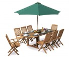 Brompton 8 Seater Extending Dining Set With 8 Folding Chairs
