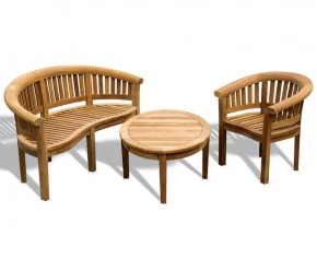 Aria Teak Coffee Table, Bench and Chair Set - Kidney Table, Bench and Chair Set