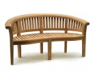Teak Banana Bench and Coffee Table Conversation Set