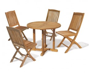 Canfield 4 Seater Teak Round Garden Table and Folding Chairs Set - 4 Seater Dining Sets
