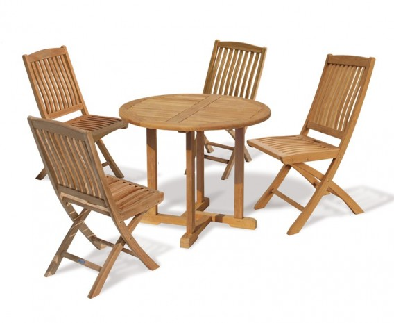 Canfield 4 Seater Teak Round Garden Table and Folding Chairs Set
