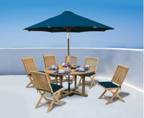 Canfield 5ft Round Table and 6 Bali Folding Chairs - Large Dining Sets