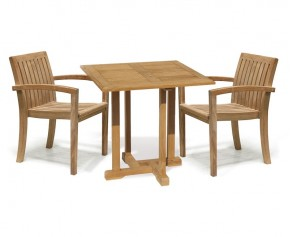 Canfield 2 Seater Teak Square Garden Table and Stackable Chairs Set