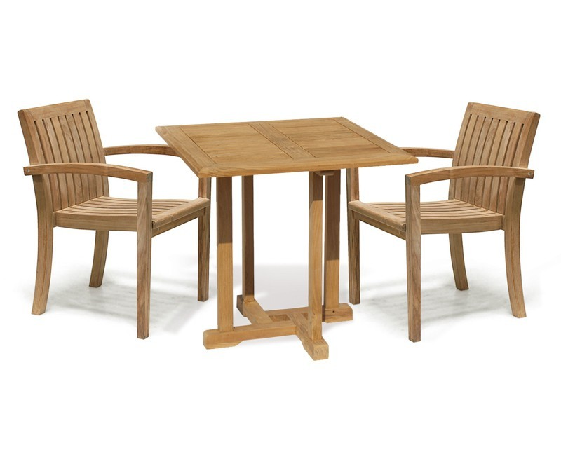 Canfield 2 Seater Teak Square Garden Table And Stackable