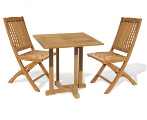 Canfield Bijou 2 Seater Teak Square Garden Table and Bali Folding Chairs Set - Bali Dining Set