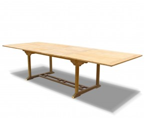 Dorchester Teak Rectangular Extending Table 2m - 3m x 1.1m - 10 Seater Dining Tables