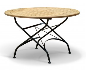 Bistro Folding Table | Teak Round - 120cm - Folding Garden Tables