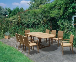 St Tropez Extending Teak Table and 8 Rattan Stacking Chairs Set - 8 Seater Dining Table and Chairs