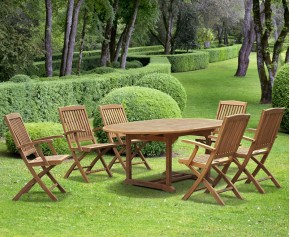 Brompton Teak Extendable Garden Table and Chairs - Brompton Dining Set