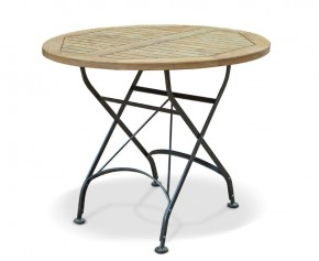 Bistro Round Folding Table | Teak Wood 90cm - Folding Garden Tables